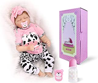 OCSDOLL Reborn Baby Sleeping Doll 22 inch Lifelike Soft Touch Silicone Vinyl Real Newborn Handmade Toddler Doll Gift