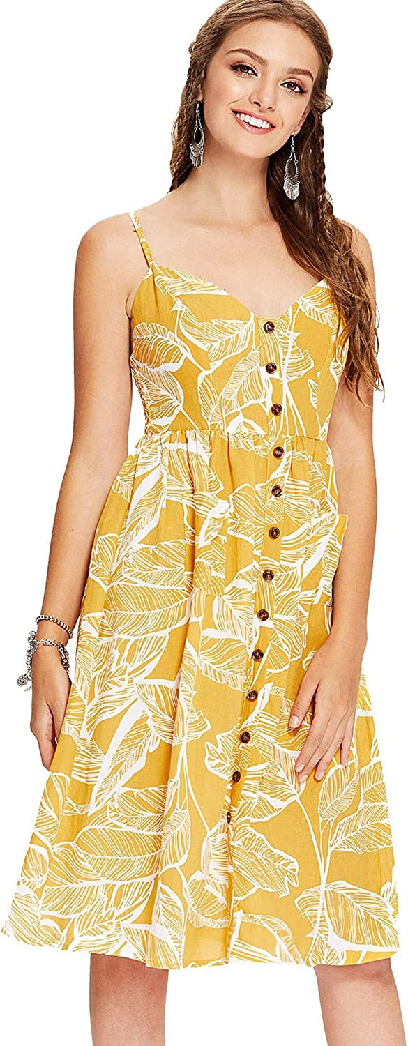 Milumia Women's Sleeveless Button Floral Print Strap Pocket Swing Cami Dress