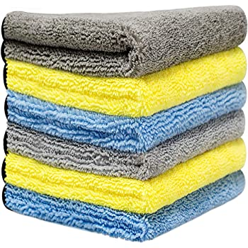 16'' x 16'' Large & Thick Microfiber Cleaning Cloths Strong Absorption with Fine Workmanship, Non-Abrasive Microfiber Towels for Home, Cleaning Rags for Cars, Cloth with 6-Pack (Blue, Yellow, Gray)