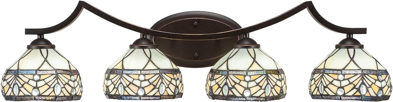 Toltec Lighting Zilo 4 Light Cheap bargain Bath Very popular Royal Bar Tiffany Glass 7