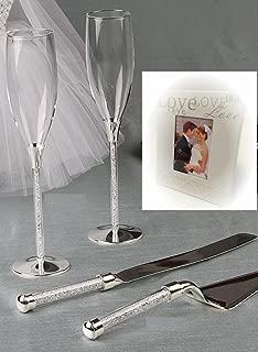 Wedding Toasting Flutes and Cake Knife Server Set Crystal Stones Filled Stemmed with Love Mini Favor Frame