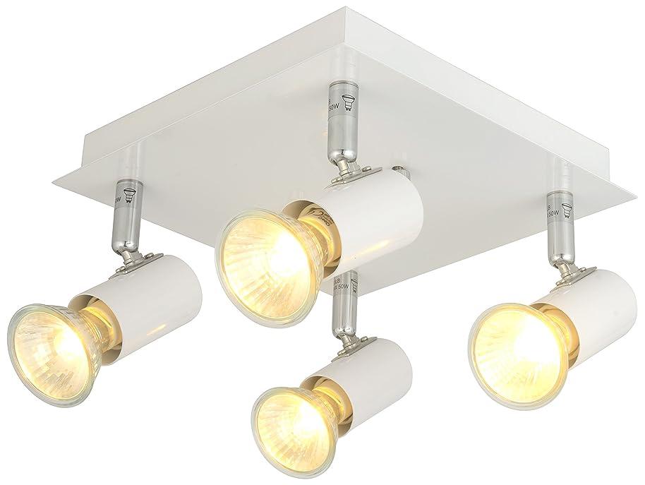 Modern Rectangular/Square 6/4 Way Adjustable GU10 Ceiling Spotlight Track Lighting kit (White, 4 Ways)