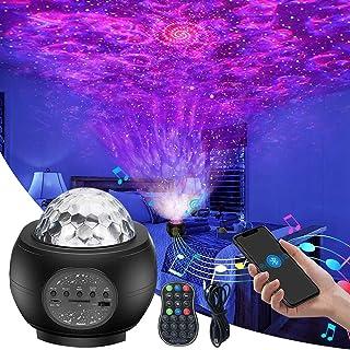 Sternenhimmel Projektor,Galaxy Sternlicht Lampe, Ozeanwellen Nachtlichter, Ferngesteuerte Lautsprecher mit Bluetooth, best...