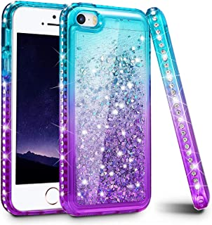 Ruky iPhone 5 5S Case, iPhone SE Case, Gradient Quicksand Series Glitter Flowing Liquid Floating Sparkly Bling Diamond Soft TPU Girls Women Cute Case for iPhone 5 5S SE (Aqua Purple)