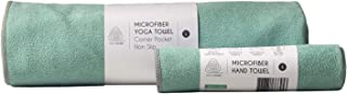 NOW YOGING Extra Thick Hot Yoga Towel + Hand Towel 2in1 Set, Corner Pockets Design to Prevent Bunching, 100% Microfiber – ...