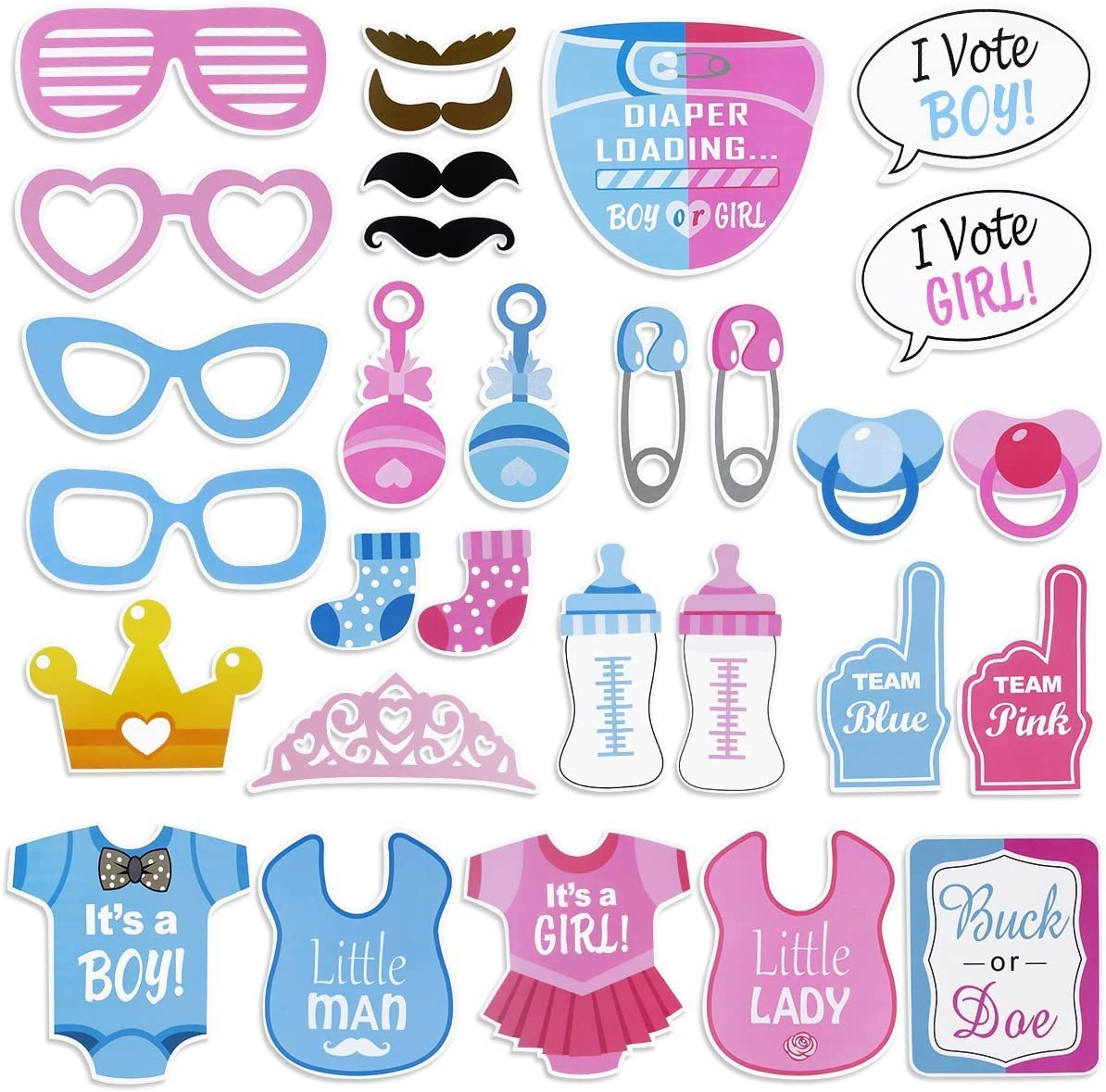 30pcs Boy Girl Blue Pink Clothing Photo Booth Prop Baby Shower Party Deco Favo E