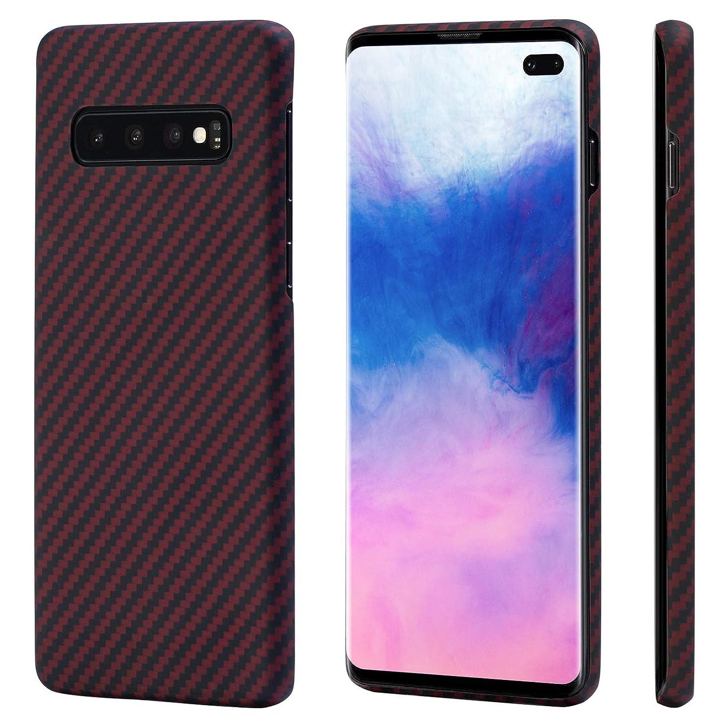 想像力まだら偽造Samsung Galaxy S10+ケース「PITAKA」Magcase 軍用防弾チョッキ素材アラミド繊維高級なカーボン風 超薄(0.65mm) 超軽量(16g) 超頑丈 耐衝撃 高耐久性 スリム 薄型 ワイヤレス充電対応ギャラクシーS10+カバー (黒/赤 ツイル柄)