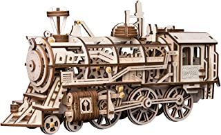 ROKR 3D DIY Wooden Puzzle - Self-Assembly Mechanical Model-Brain Teaser Game for Teens and Adults-Adult Craft Set-Unique Gift for Christmas, Birthday (Locomotive)