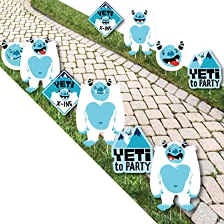Big Dot of Happiness Yeti to Party - Lawn Decorations - Outdoor Abominable Snowman Party or Birthday Party Yard Decorations - 10 Piece