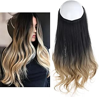Ombre Hair Extension Black Blonde Bayalage Long Natural Wavy Halo Flip Natural Synthetic Hairpiece Hidden Wire Crown Headband Hair Pieces For Women Heat Resistant Fiber 18
