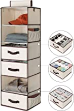 "StorageWorks 6-Shelf Hanging Dresser, Foldable Closet Hanging Shelves with 2 Magic Drawers & 1 Underwear/Socks Drawer, 42.5""H x 13.6""W x 12.2""D"