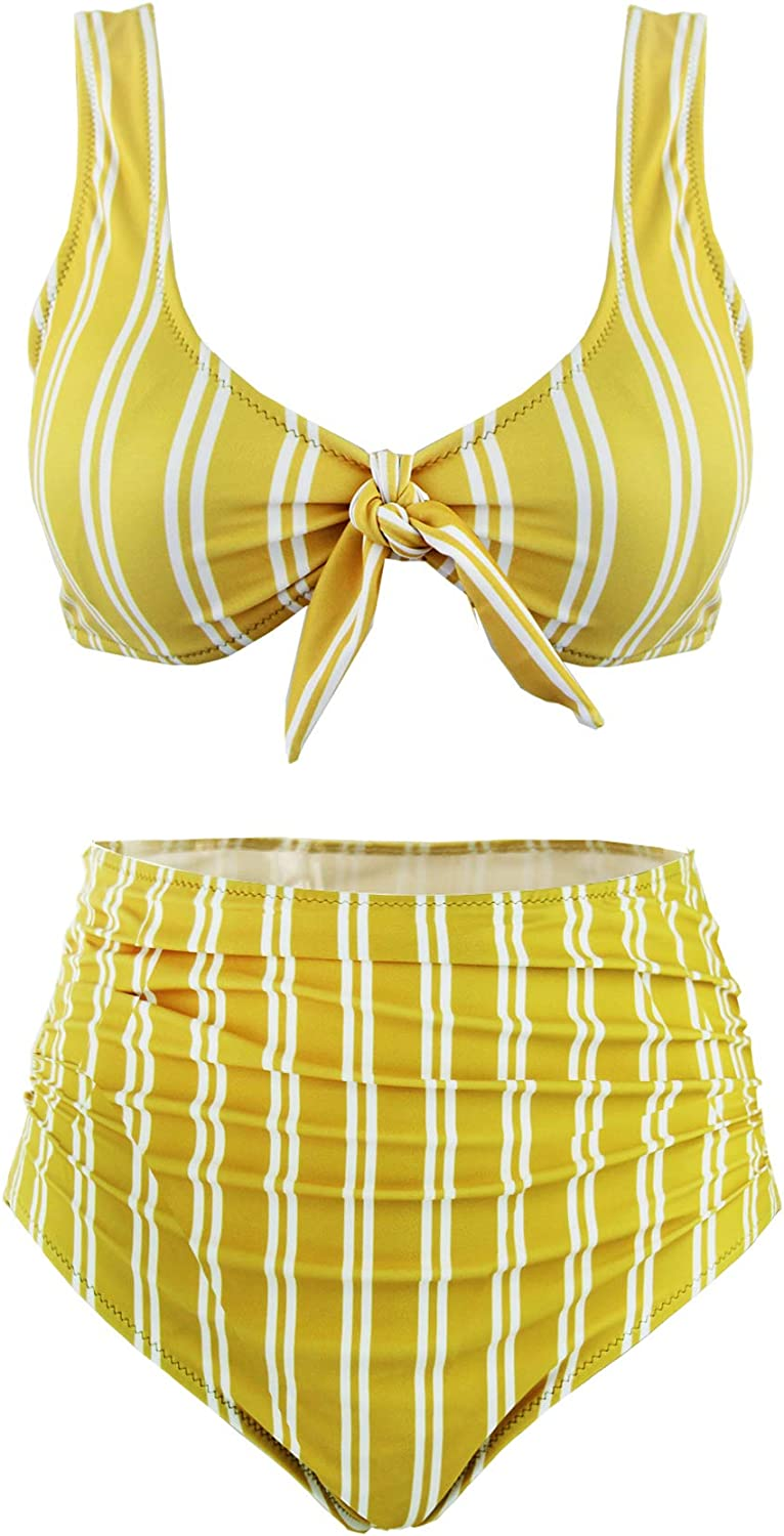 SS Queen Women High Waisted Padded Swimsuits Print Bowknot Swimwear Two Pieces Bathing Suit