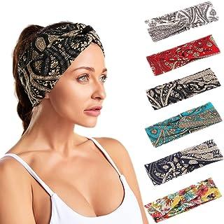Sponsored Ad - 6 Pack Ladies Cross Headband Retro Elastic Head Boho Hairband Women's Girl Hair Accessories,Yoga Running He...