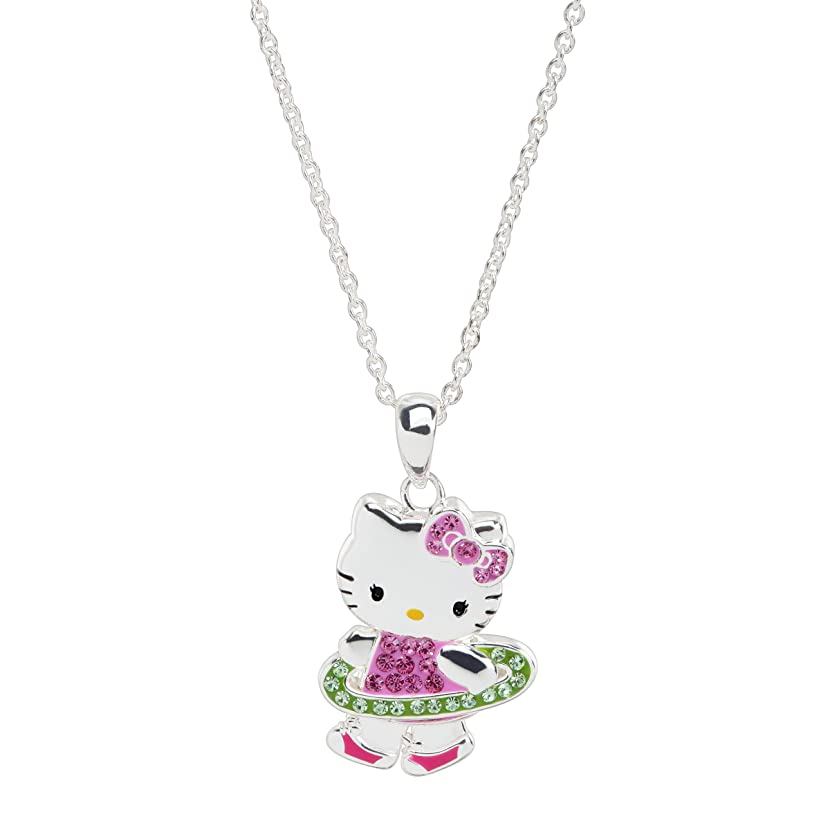 Hello Kitty Hula Hoop Pendant Necklace with Crystals in Sterling Silver-Plated Brass