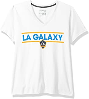 MLS Los Angeles Galaxy Adult Women Dassler Pattern Ultimate S/V-Neck Tee, Medium, White