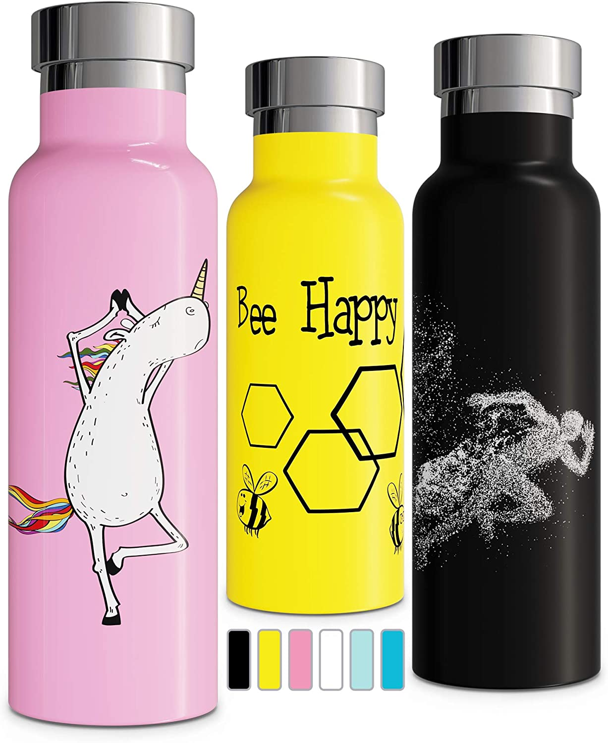 Vacuum Insulated Water Bottle   Double Walled Stainless Steel Eco-Friendly Leak Proof Sweat Free Durable Powder Coated 17oz   20oz   25oz Thermos   Keeps Cold 24 Hours, Hot 12 Hours