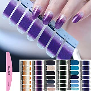BlueZOO 6 Sheets Shiny Nail Art Stickers, Nail Strips with File (Style 1)