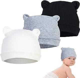YSense 3 Pcs Bonnet Bébé Naissance, Bonnet Bebe 0-6 Mois Garcon Et Fille Nouveau Né Bébé Chapeau Ours Oreilles Noir Blanc ...