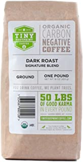 Tiny Footprint Coffee - Organic Signature Blend Dark Roast | Ground Coffee | USDA Organic | Carbon Negative | 16 Ounce (Pack of 2)
