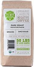 Tiny Footprint Coffee - Organic Signature Blend Dark Roast   Ground Coffee   USDA Organic   Carbon Negative   16 Ounce (Pack of 2)