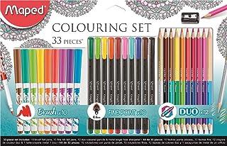Kit de Coloração 10 Canetas Hidrográficas + 10 Canetas Fineliner + 12 Lápis de Cor Duo, Maped, 897417