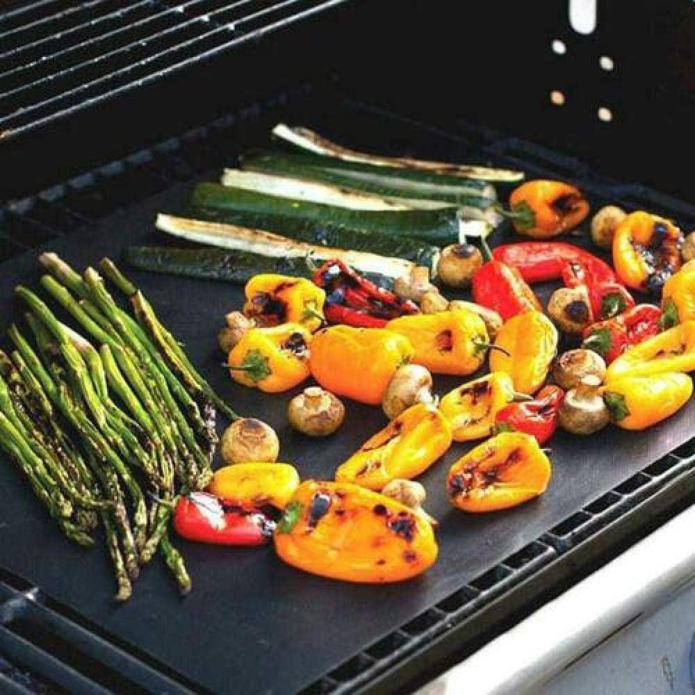 showsing Tapis de Cuisson Barbecue Feuille Cuisson Barbecue Tapis Anti-adhérent et Réutilisable pour Barbecue Électrique Gaz et Charbon BBQ MAT-5Pcs 4Pcs