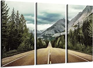 Mountain Landscape Canvas Wall Art: Road & Tree Artwork Nature Scenery Painting Pictures for Living Room (34'' x 20'' x 3 Panels)