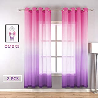 Purple and Pink Sheer Curtains for Girls Bedroom Decor 2 Panels Grommet Faux Linen Ombre Window Semi Sheer Curtains for Living Room Decoration New Year Gift Wedding Party Backdrop 52 x 84 Inch Length