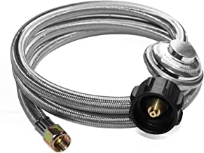 ANCOZY 5 Feet Universal Low Pressure Propane Regulator Grill Replacement with Stainless Steel Braided Hose for Most LP Gas Grill, Heater and Fire Pit Table, 3/8