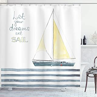 Ambesonne Nautical Shower Curtain, Let Your Dreams Set Sail Words Stripes Yacht Interior Navigation Theme, Cloth Fabric Bathroom Decor Set with Hooks, 70