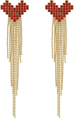 Pave Heart Fringe Earrings