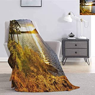 Landscape Comfortable Large Blanket Sunset Dawn in The Forest Over Lake of Two Rivers Algonquin Park Ontario Canada Microfiber Blanket Bed Sofa or Travel W55 x L55 Inch Multicolor