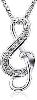 B.Catcher Collar Mujer 925 Plata de Ley ''Nota Musical'' con para Regalo Originales Cadena 45cm Longitud