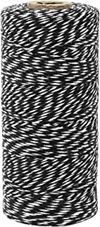 Just Artifacts ECO Bakers Twine 240-Yards 4Ply Striped Black - Decorative Bakers Twine for DIY Crafts and Gift Wrapping