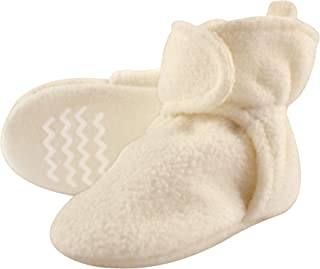 Baby Cozy Fleece Booties with Non Skid Bottom, Cream, 6-12 Months
