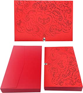 50PCS Paper Laser Cut Bronzing Wedding Baby Shower Invitation Cards with Butterfly Hollow Favors Invitation Cardstock for Engagement Birthday Graduation (Diamond-Red)