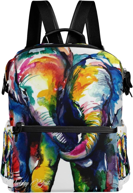 LORVIES colorful Elephants School Rucksack Travel Backpack