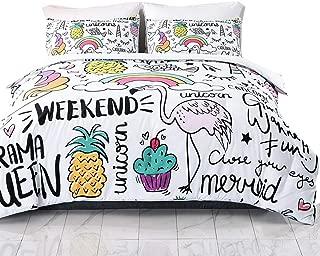 SHINICHISTAR Unicorn Comforter Set for Kids Teens Girls 3 Pieces Cartoon Drawing Bedding Sets Queen Size