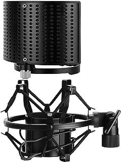 Moukey ショックマウント ポップガード マイクフィルター 46-54㎜ ポップフィルター 46-70mm メタル 防振 ポップブロッカー ノイズ防止