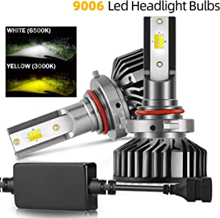 COLIGHT LED Headlight Bulbs 9006/HB4 Conversion Replacements Yellow Amber 3000K White 6000K Dual Color Temperature 72W 12000lumens Hi/Lo Beam DRL Waterproof ZES Chips Fog Lights