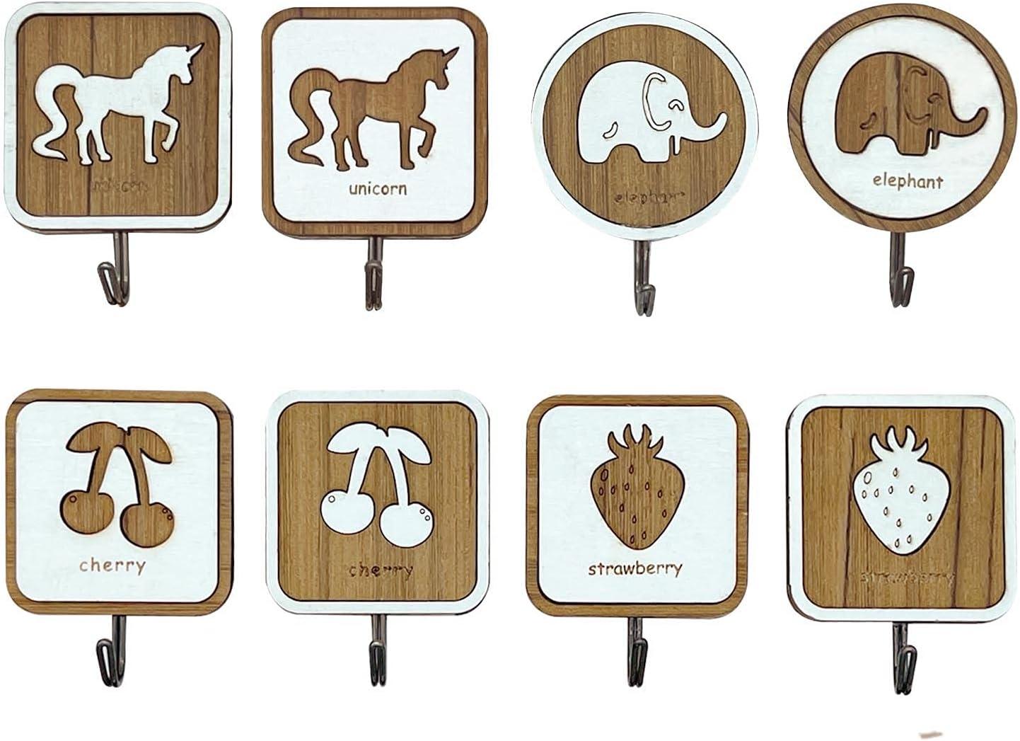 Ganchos adhesivos de pared de madera, juego de 8 colgadores para toallas, trapos, albornoces, llaves y bolsos, para pared y puertas de cocina, baño y dormitorio (juego 1)