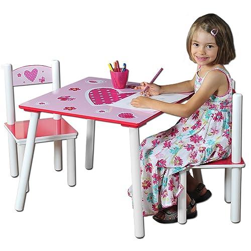Kesper 17722 1 - Mesa Infantil con 2 sillas y Dibujos de Corazones (conglomerado de