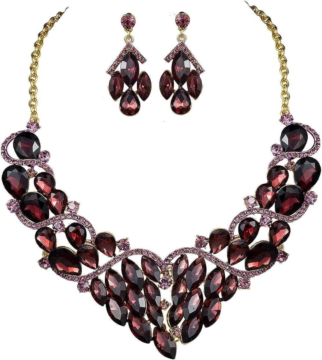 Stylish Burgundy Austrian Rhinestones Crystal Bib Necklace Earrings Set N928b