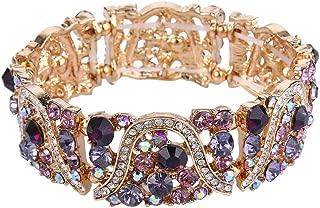 EVER FAITH Austrian Crystal Art Deco Wave Bridal Elastic Stretch Bracelet
