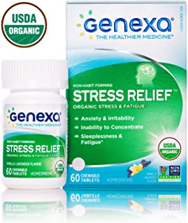 Genexa Stress Relief – 60 Tablets | Certified Organic & Non-GMO, Physician Formulated, Homeopathic | Stress & Fatigue Remedy