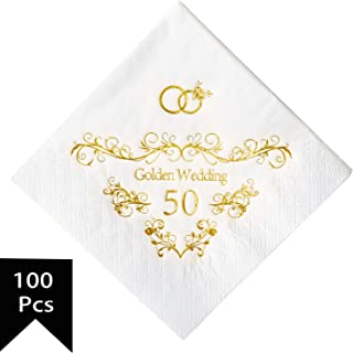 Crisky 50th Wedding Anniversaray Napkins Golden Cocktail Beverage Napkins, 50th Wedding Anniversary Decorations for Candy Cake Table, 100 Pcs, 3-ply