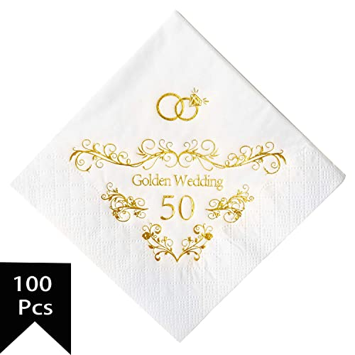 20 x Quality Gold Embossed Napkins Golden Wedding 50th Anniversary Wedding Party