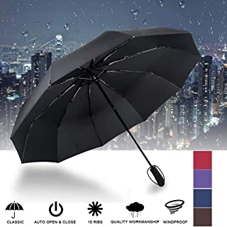 10 Ribs Automatic Travel Umbrella Auto Open Close Compact Folding Rain Windproof School Umbrella