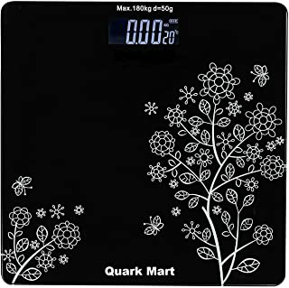 QUARK MART Heavy Thick Tempered Glass LCD Display Digital Personal Bathroom Health Body Weight Weighing Scales For Body We...
