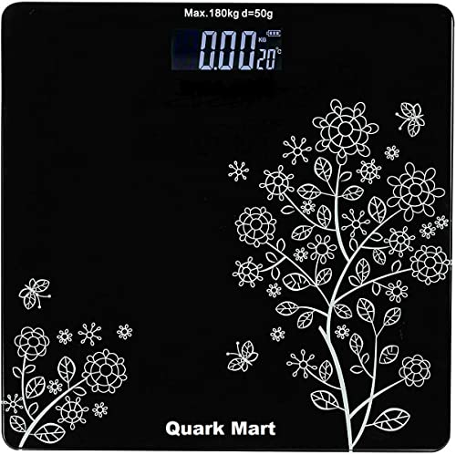 QUARK MART Heavy Thick Tempered Glass LCD Display Digital Personal Bathroom Health Body Weight Weighing Scales For Body Weight Weight Scale Digital For Human Body Flower Design Bathroom Scale